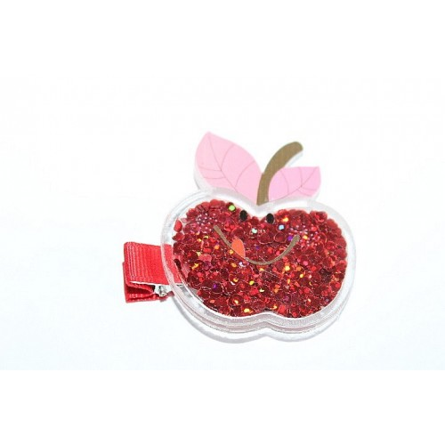 BARRETTES CROCO POMME ROUGE