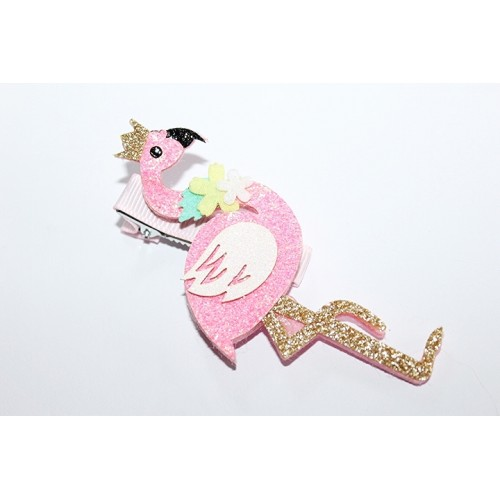 BARRETTES CROCO FLAMANT ROSE