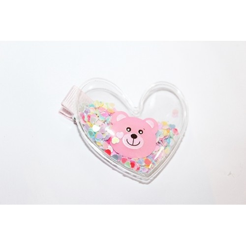 BARRETTES CROCO COEUR OURS ROSE
