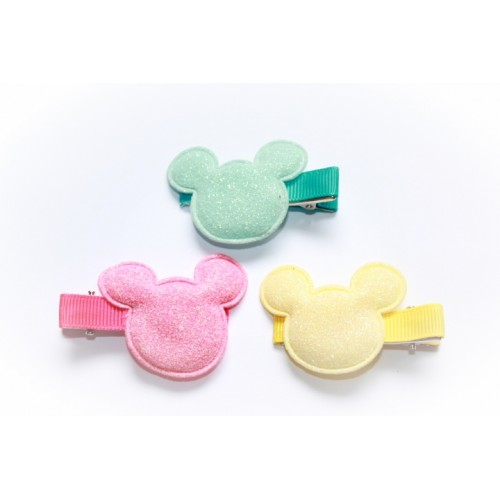 lot de 3 barrettes crocodile modèle mouse à paillettes